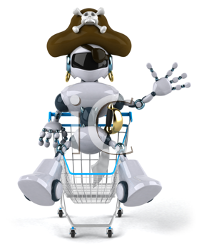 Royalty Free Clipart Image of a Robot Pirate With a Shopping Cart