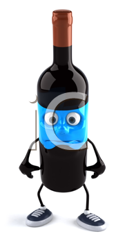 Royalty Free Clipart Image of a Sad Wine Bottle