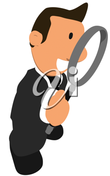 Royalty Free Clipart Image of a Guy in a Suit With a Magnifying Glass