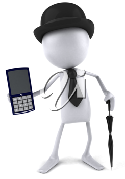 Royalty Free Clipart Image of a Man In a Bowler Showing a Calculator