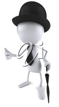 Royalty Free Clipart Image of a Blank Dude Wearing a Bowler Hat and Tie and Holding an Umbrella