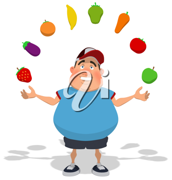 Royalty Free Clipart Image of an Overweight Man Juggling Fruit