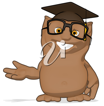 Royalty Free Clipart Image of a Happy Owl Professor