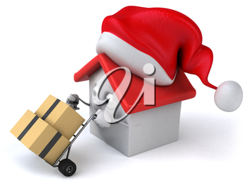 Royalty Free Clipart Image of a House in a Santa Hat Moving Boxes