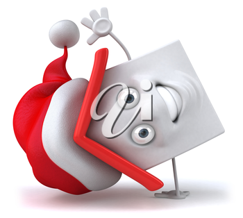 Royalty Free Clipart Image of a House in a Santa Hat Doing Cartwheels