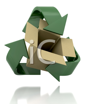 Royalty Free Clipart Image of a Recycle Symbol Around a Box