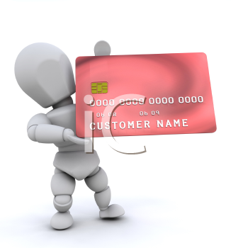 Royalty Free Clipart Image of a Person Holding a Credit Card