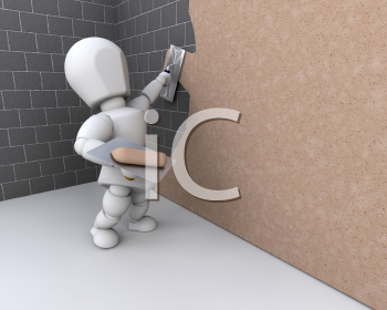 Royalty Free Clipart Image of a Person Plastering a Brick Wall