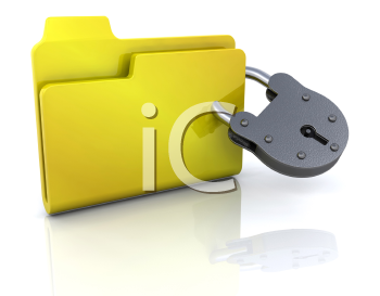 Royalty Free Clipart Image of a Folder With a Padlock