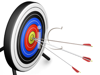 Royalty Free Clipart Image of an Arrow Hitting a Target