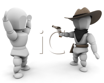 Royalty Free Clipart Image of a Bandit Pointing a Gun