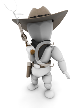 Royalty Free Clipart Image of a Bandit With a Smoking Gun