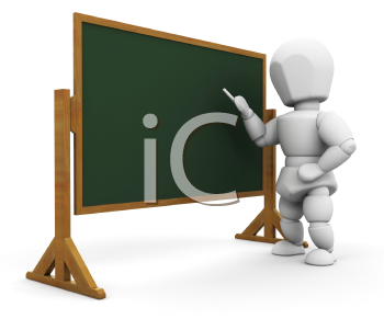Royalty Free Clipart Image of a Person By a Chalkboard