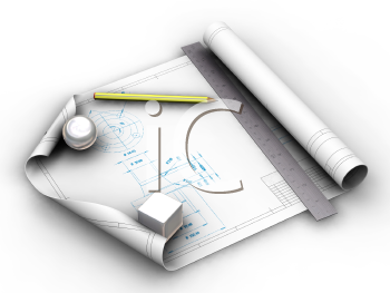Royalty Free Clipart Image of Blueprints