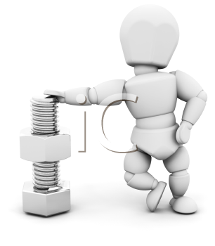 Royalty Free Clipart Image of a Guy With a Nut and Bolt