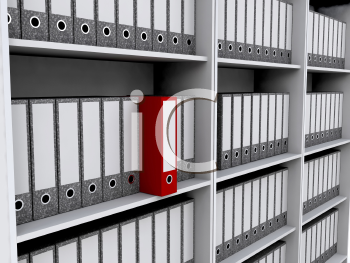 Royalty Free Clipart Image of a Files on Shelves With a Red One
