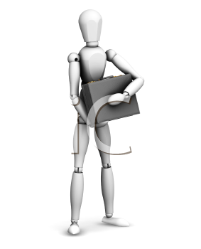 Royalty Free Clipart Image of a 3D Guy Holding a Briefcase
