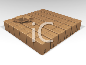 Royalty Free Clipart Image of a Brown Square of Cardboard Boxes