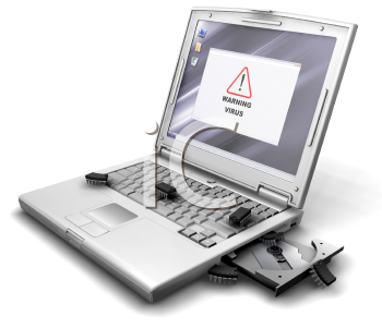 Royalty Free Clipart Image of a Laptop With a Bug