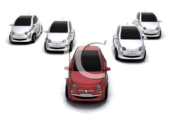 Royalty Free Clipart Image of a Group of Cars in V Formation