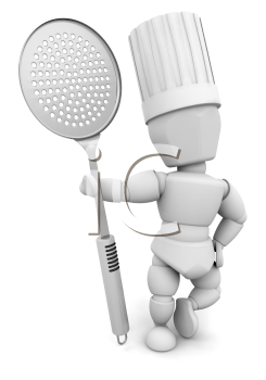 Royalty Free Clipart Image of a Chef With a Slotted Spoon