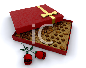 Royalty Free Clipart Image of a Chocolate Box With Roses