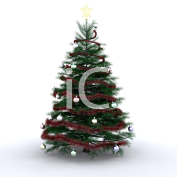 Royalty Free Clipart Image of a Decorated Christmas Tree