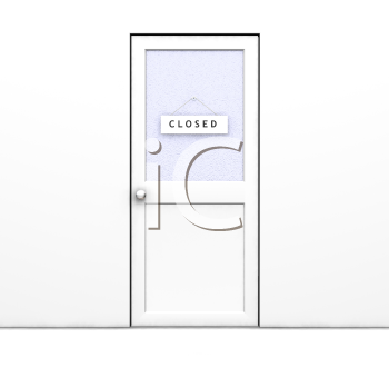 Royalty Free Clipart Image of a Door With a Closed Sign