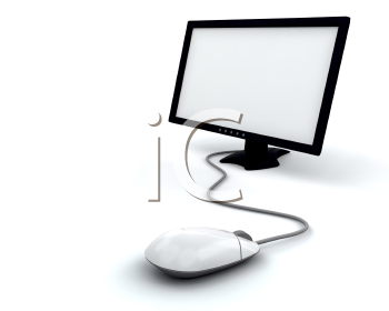 Royalty Free Clipart Image of a Computer Screen With Mouse
