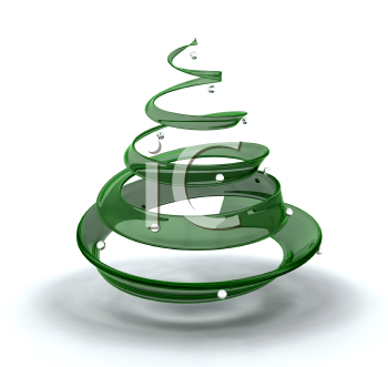 Royalty Free Clipart Image of a Glass Christmas Tree