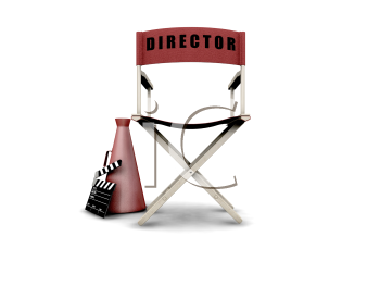 Royalty Free Clipart Image of a Director's Chair, Megaphone and Clapper