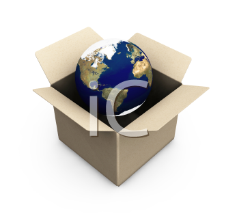 Royalty Free Clipart Image of a Planet in a Box