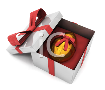 Royalty Free Clipart Image of an Egg With a Bow in a Box