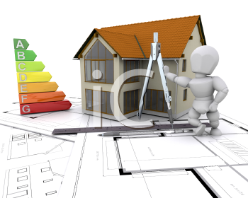 Royalty Free Clipart Image of a House, Man and Energy Ratings on Blueprints