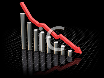 Royalty Free Clipart Image of a 3D Chart Showing Falling Markets
