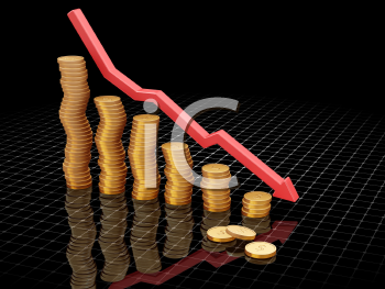 Royalty Free Clipart Image of a Chart Showing Fall Profits