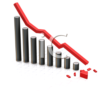 Royalty Free Clipart Image of a Falling Chart