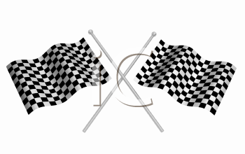 Royalty Free Clipart Image of Crossed Checkered Flags