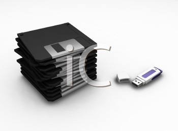 Royalty Free Clipart Image of a USB Drive and Floppy Disks