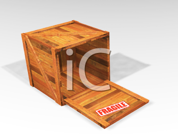 Royalty Free Clipart Image of a Crate With a Fragile on It