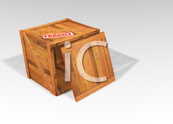Royalty Free Clipart Image of an Open Crate With Fragile On It