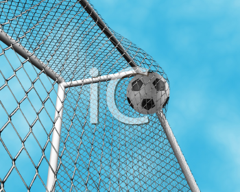 Royalty Free Clipart Image of a Soccer Ball Going Into the Net