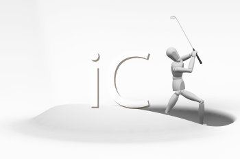 Royalty Free Clipart Image of a Golfer Taking a Shot From a Sand Trap