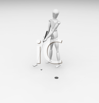 Royalty Free Clipart Image of a Golfer Putting