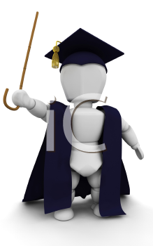 Royalty Free Clipart Image of a Professor in a Cap and Gown