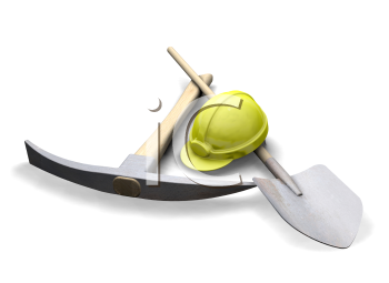 Royalty Free Clipart Image of a Tools and a Hard Hat