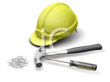 Royalty Free Clipart Image of Tools and a Hard Hat