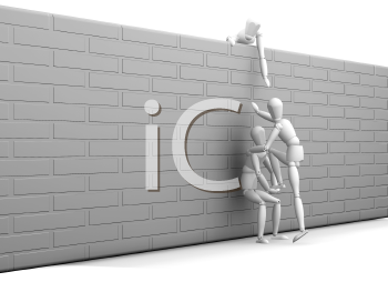 Royalty Free Clipart Image of 3D People Working Together to Scale a Wall