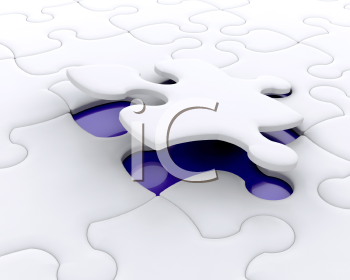 Royalty Free Clipart Image of a Final Puzzle Piece Being Fitted
