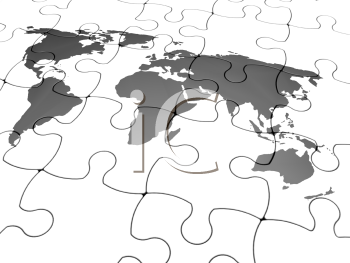Royalty Free Clipart Image of a Continent Puzzle